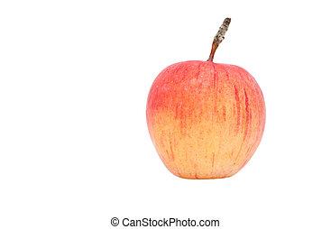 een, appel, op, een, witte achtergrond
