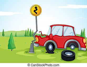 een, auto, het stoten, de, wegaanduiding