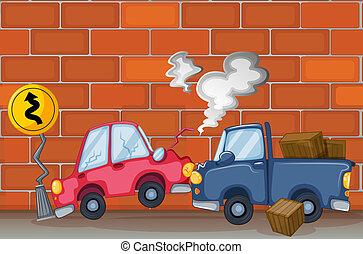 een, auto-ongeluk, dichtbij, de muur