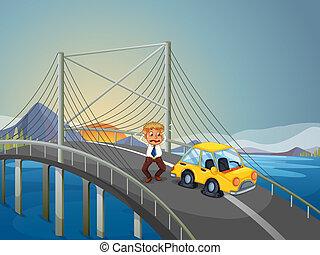 een, auto-ongeluk, op, de, brug