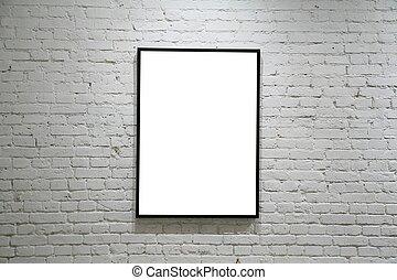 een, black , frame, op wit, baksteen muur