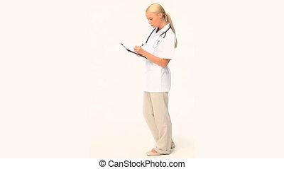 een, blonde , verpleegkundige, controleren, haar, patiënt