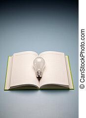 een, boek, en, lamp