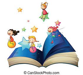 een, boek, met, kinderen spelende