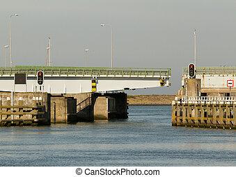 een, brug, in, de, hollandse, afsluitdijk