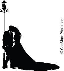 een, bruid en bruidegom, op, hun, trouwfeest