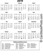 een, b&w, jaar, 2019, kalender, pagina