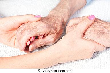 een, care, is, thuis, van, bejaarden