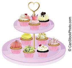 een, cupcake, stander, met, cupcakes