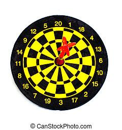 een, darten, in, centrum, van, doel, vrijstaand, op wit