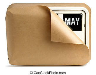 een, de klok van de muur, en, kalender, gewikkelde in bruin papier, vrijstaand, op, een, witte achtergrond, het tonen, mei