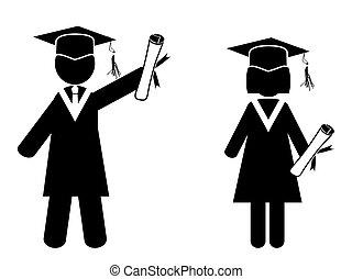 een diploma behaald, figuren, stok
