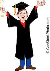 een diploma behaald, jongen