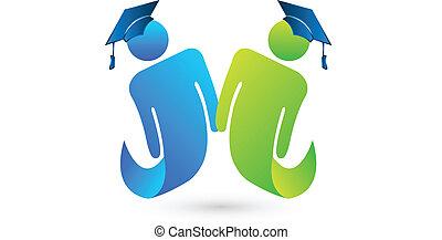 een diploma behaald, scholieren, vector, logo
