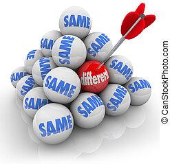 een, doelgericht, bal, anders, vs, zelfde, veranderen, innovatie