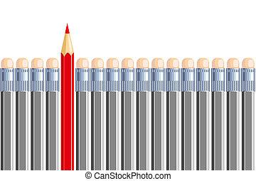 een, een ander, potlood, in, enig, anderen, gray., zijn,...