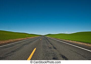 een, eenzaam, en, lege, plattelandsweg