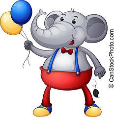 een, elefant, met, ballons