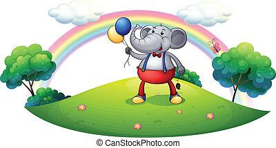 een, elefant, met, ballons, op, de, heuveltop