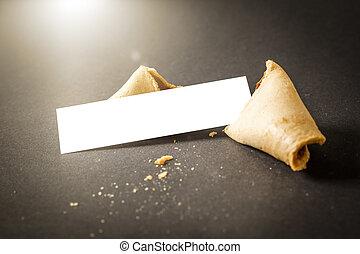 een, fortuin koekje, met, een, leeg, papier, voor, jouw, boodschap