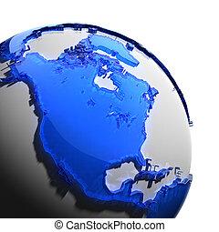 een, fragment, van, de aarde, met, continenten, van, blauw...