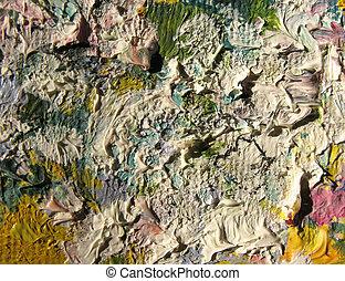 een, fragment, van, de, doek, met, olie, paints., achtergrond., macro