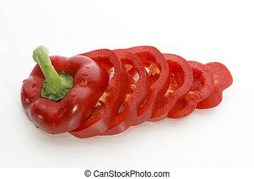 een, fris, rood, paprika, knippen, in, schijfen