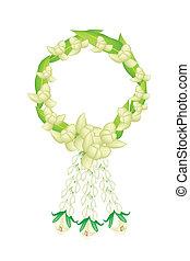 een, fris, witte , kleuren, van, ylang, ylang, bloemen, guirlande
