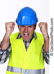 een, furieus, bouwsector, worker.