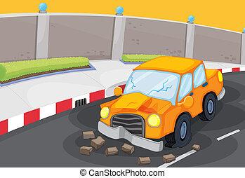 een, gebarsten, auto, op, de, straat