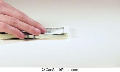 een, geld, hand, geeft