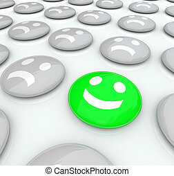 een, gelukkig gezicht, tussen, velen, frowning, gezichten, -, anders