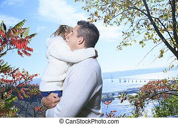een, gelukkige familie, hebbend plezier, buitenshuis, in, herfst