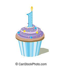 een, getal, cupcake
