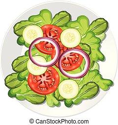 een, gezonde , groente, slaatje