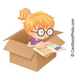 een, girl lezen, boek, in, een, doosje
