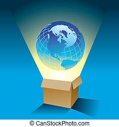 een, globe, komt, buiten de doos