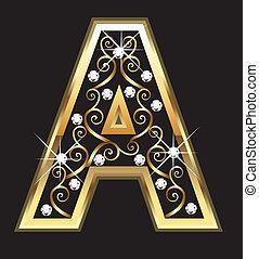 een, goud, brief, met, swirly, versieringen