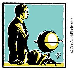 een, grafisch, tekening, van, een, man, met, een, woord, globe