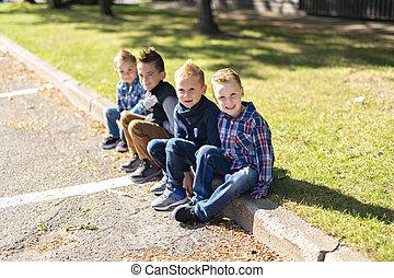 een, groep van kinderen, in, welen seizoen op, morgen