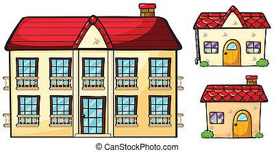 een, groot, flat, en, twee, kleine, huisen