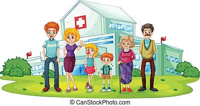 een, groot, gezin, dichtbij, de, ziekenhuis