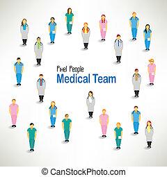 een, grote groep, van, medisch team, bijeenkomen, vector,...