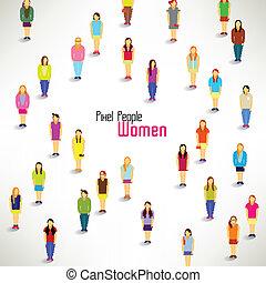 een, grote groep, van, vrouwen, bijeenkomen, vector, ontwerp