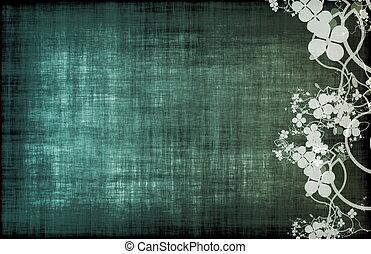 een, grunge, perkament, floral, achtergrond