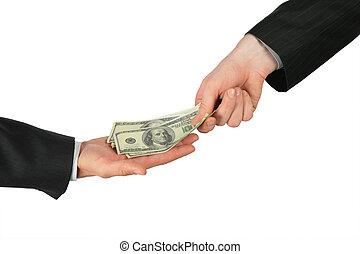 een, hand, plaatsen, dollars, in, een ander