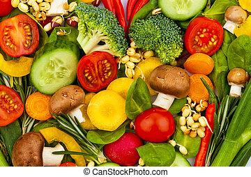een, hart, gemaakt, van, vegetables., gezond etend