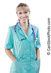 een, het glimlachen, kaukasisch, jonge, vrouwtje arts, met, handen in zakken, lo