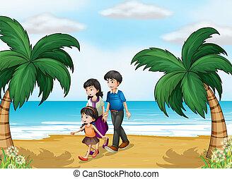 een, het lopen van de familie, aan het strand