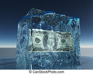 een honderd dollar bill, bevroren, in, ijs